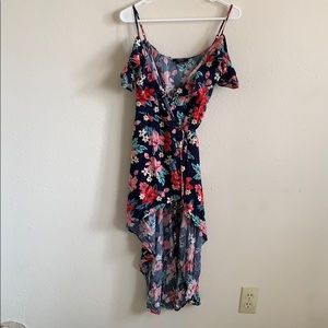 Frilly, floral wrap dress
